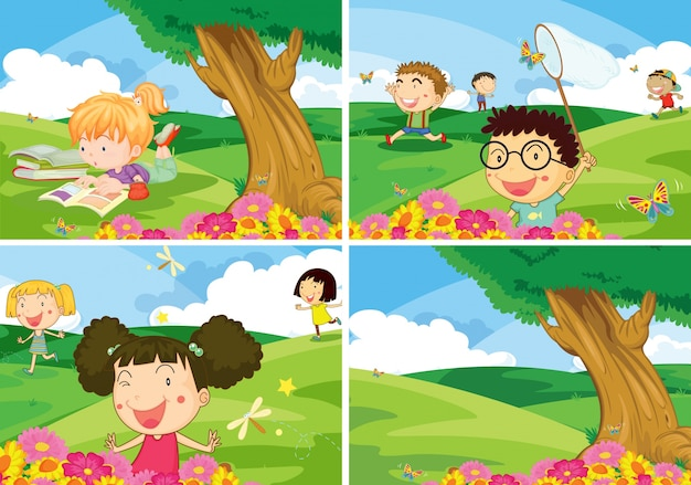 公園で活動する少年少女