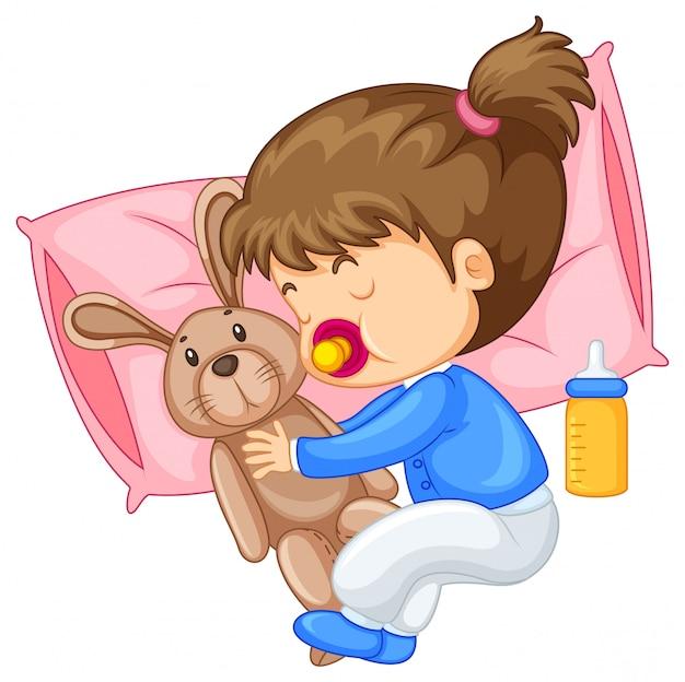 小さな女の子、抱擁、ウサギ、ベッド