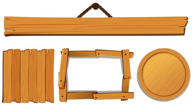 木製ボードのイラストレーションのための異なるテンプレート