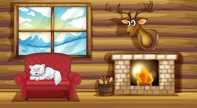 暖炉のそばで椅子の上に眠っている猫