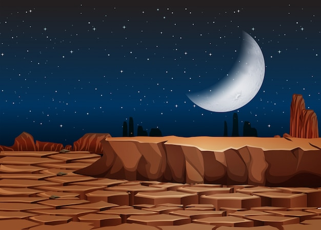 夜の乾燥した土地