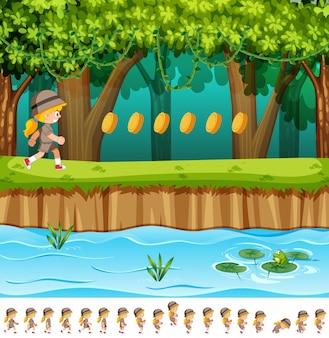 Девушка с дизайном игры в джунглях