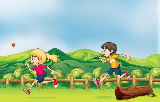 少年とジョギングする少女