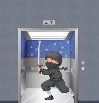 エレベーター内の忍者