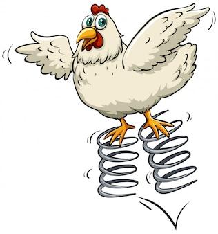 春の上の鶏