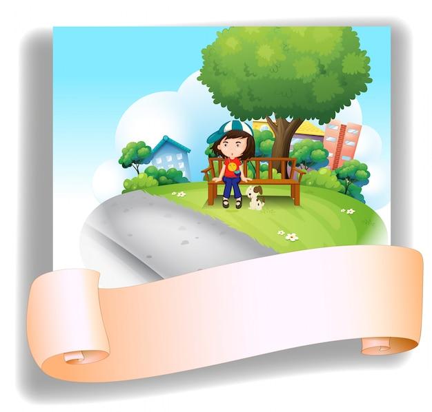 空のテンプレートの後ろに彼女のペットとベンチで女の子