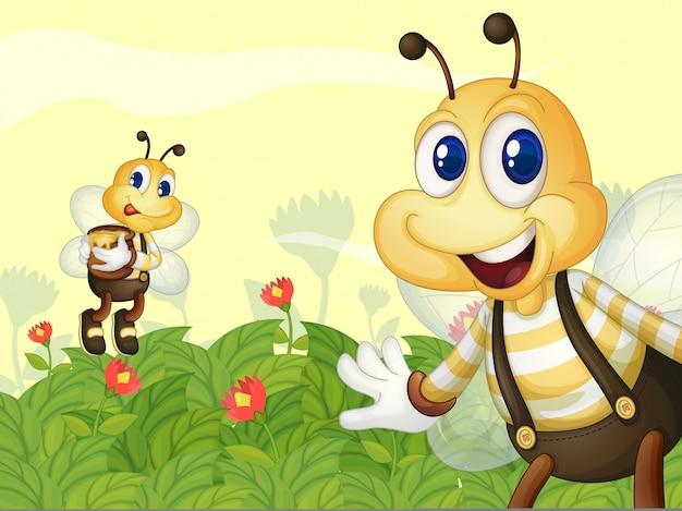 Медовые пчелы в саду