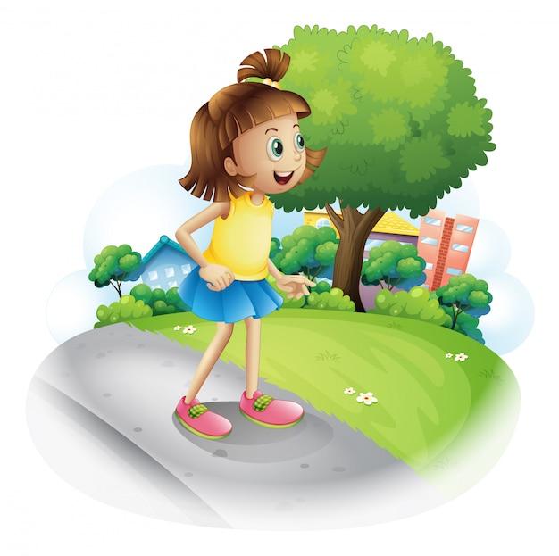 通りの小さな女の子