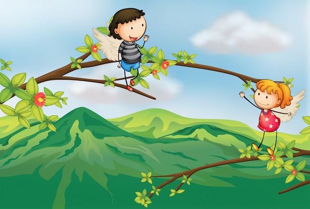 木の枝で少女と少年