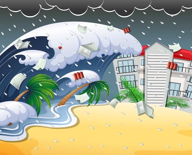 津波のビーチリゾートを襲う津波