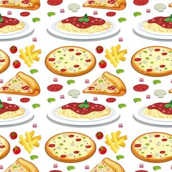 パスタとピザのシームレスなパターン