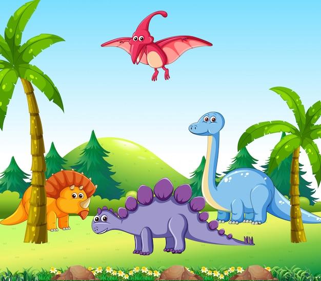 Различные динозавры в природе