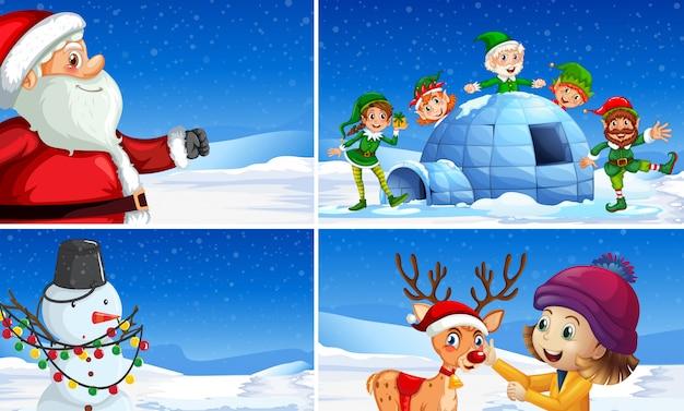雪のクリスマスシーンのセット