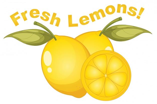 白い背景に新鮮なレモン