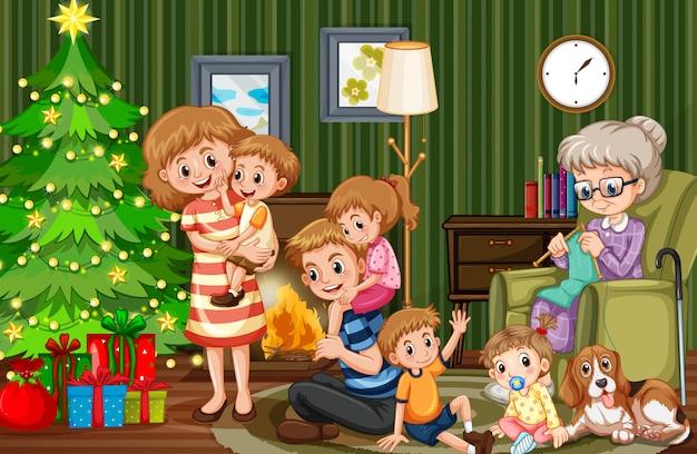 Большая семья празднует рождество
