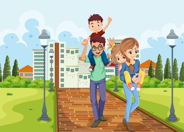 家族は公園で散策する