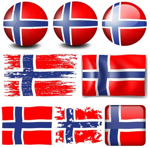 異なるオブジェクトイラストのノルウェーの旗