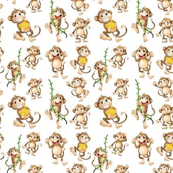 Счастливый обезьяна бесшовные шаблон