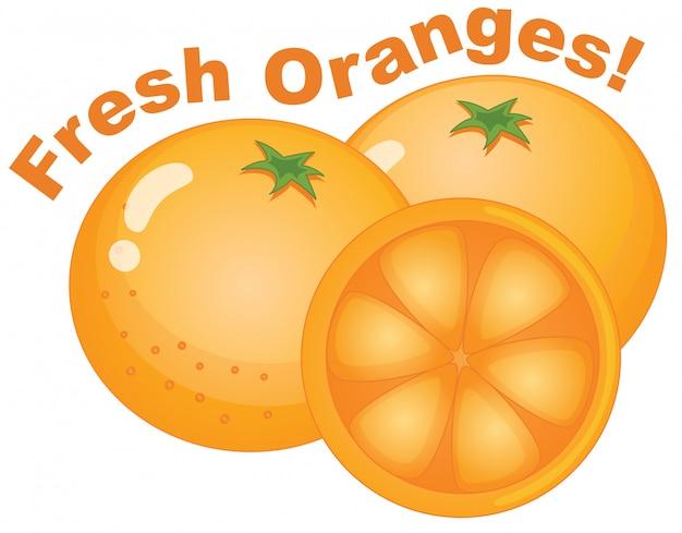 白い背景に新鮮なオレンジ
