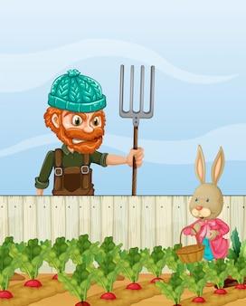 ウサギの収穫大根に怒っている農夫