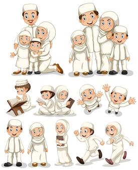 活動をしているイスラム教徒の人々