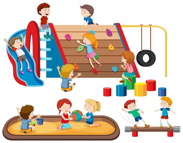 遊び場でのグループの人々の子供たち