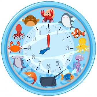 海の生き物のテンプレートと時計