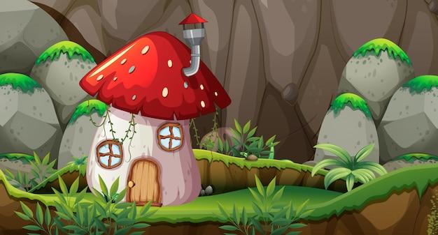 自然のキノコの家