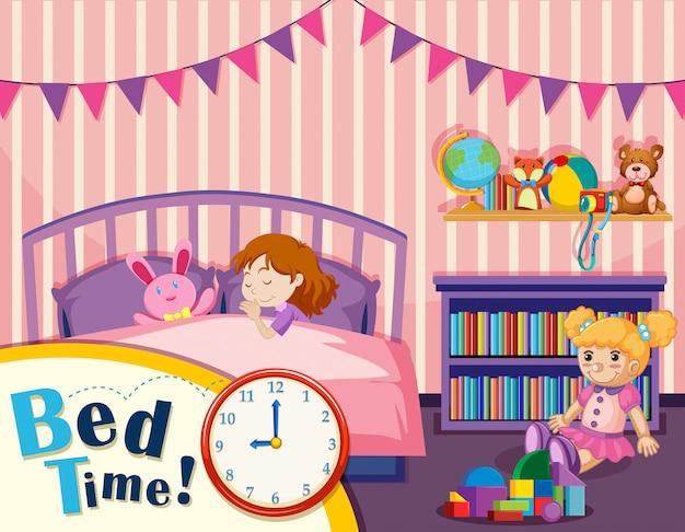若い女の子のベッドの時間