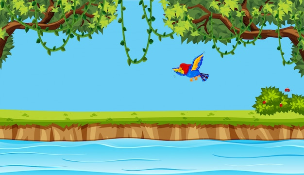 自然の背景に飛ぶ鳥