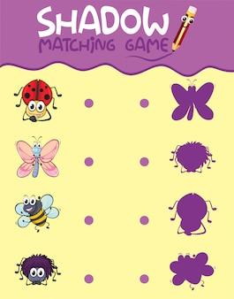 昆虫の影のマッチングゲームのテンプレート