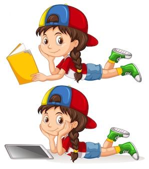 勉強する女の子のセット