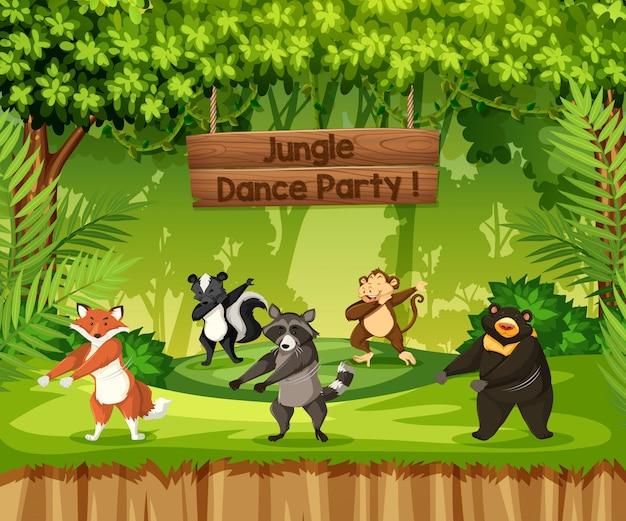 Животные выполняют танцевальную вечеринку в джунглях