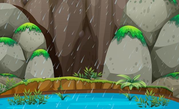 自然の風景の雨のシーン