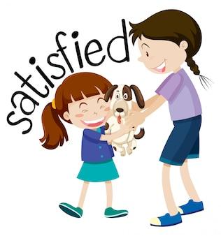 Удовлетворенная девочка держит щенка