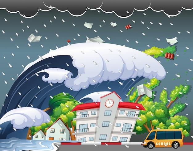津波は校舎を打つ