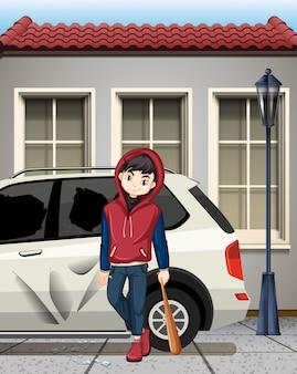 問題の男の子が車の窓に当たった