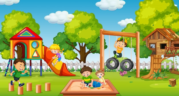 楽しい遊び場で遊んでいる子供たち