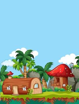 自然のキノコの木の家