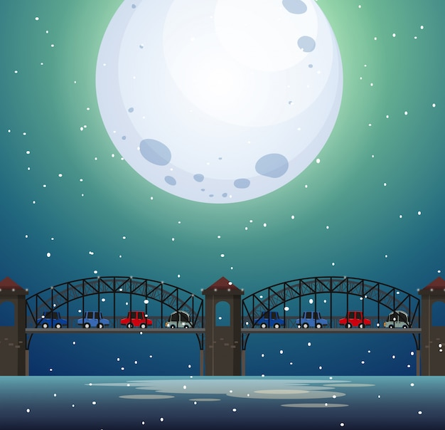 夜の橋の風景