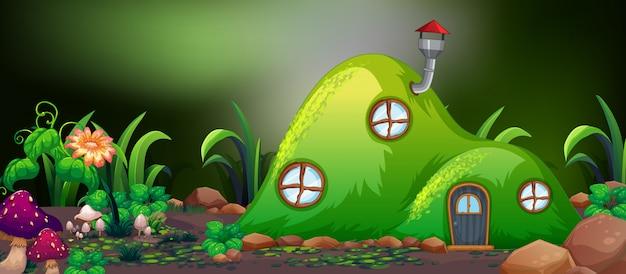 自然の中の妖精の丘の家