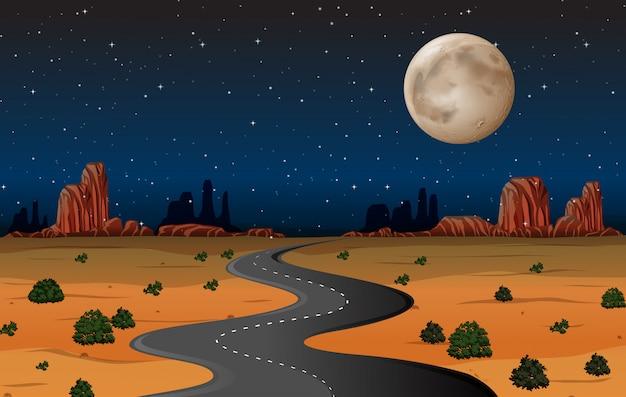 夜はアリゾナの砂漠の道