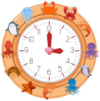 海の生き物との時計