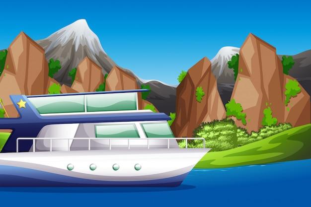 湖のシーンでボート