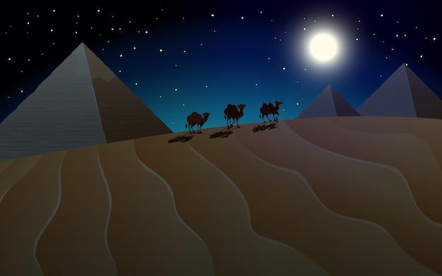 夜のピラミッドとラクダの風景
