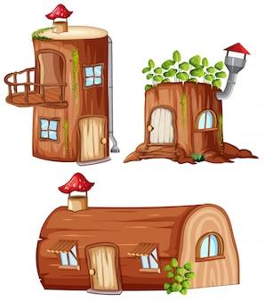魔法の木製家屋のセット