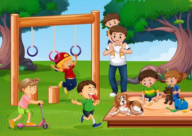 Люди на детской площадке