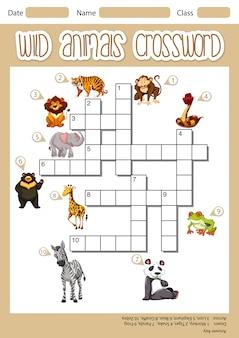 野生動物のクロスワードのコンセプト