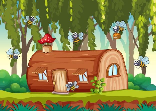 Пчела летит у деревянного дома