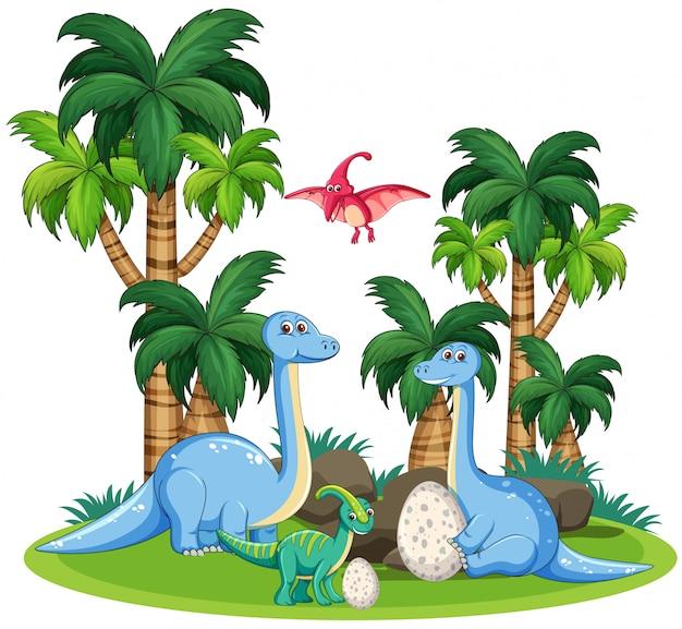 Шаблон для динозавров в природе